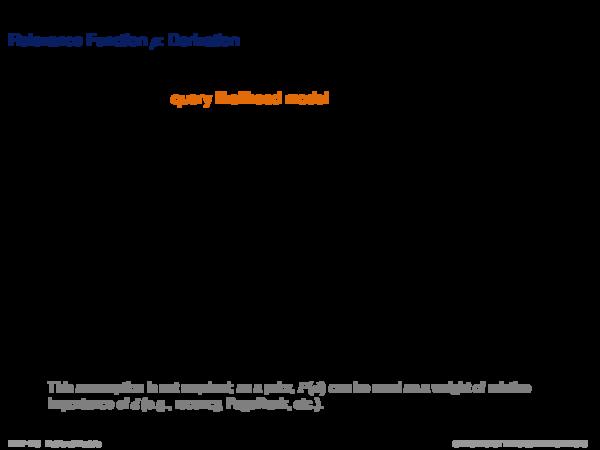 Language Models Relevance Function ρ: Derivation