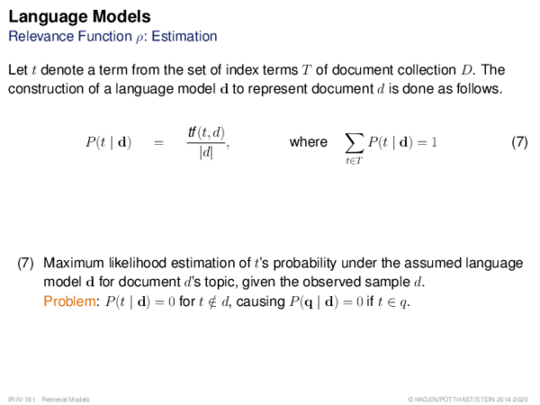 Language Models Relevance Function ρ: Estimation
