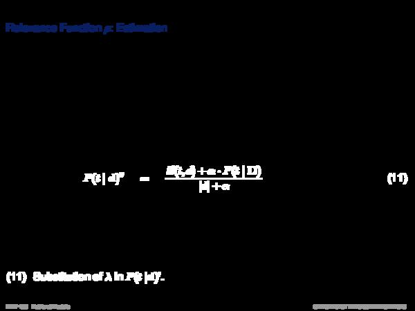 Language Models Relevance Function ρ: Estimation