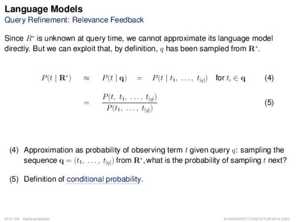 Language Models Query Refinement: Relevance Feedback