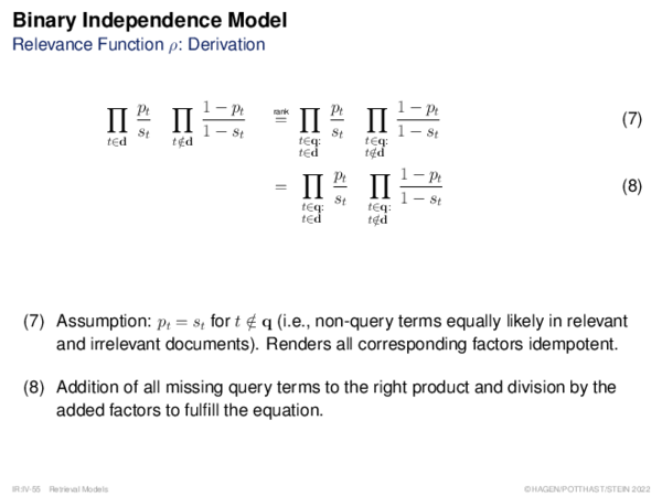 Binary Independence Model Relevance Function ρ: Derivation