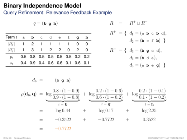 Binary Independence Model Relevance Function ρ: Summary