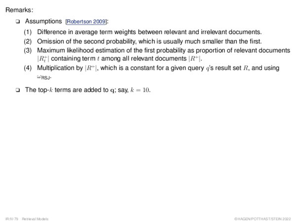 Binary Independence Model Query Refinement: Relevance Feedback Example