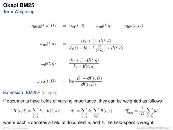 Okapi BM25 Term Weighting