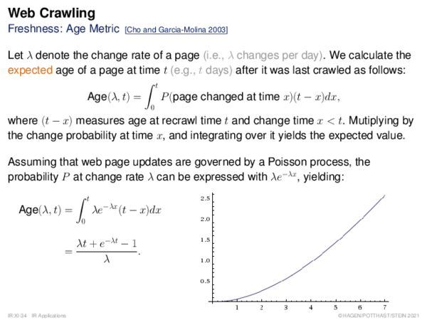 Web Crawling Freshness: Age Metric
