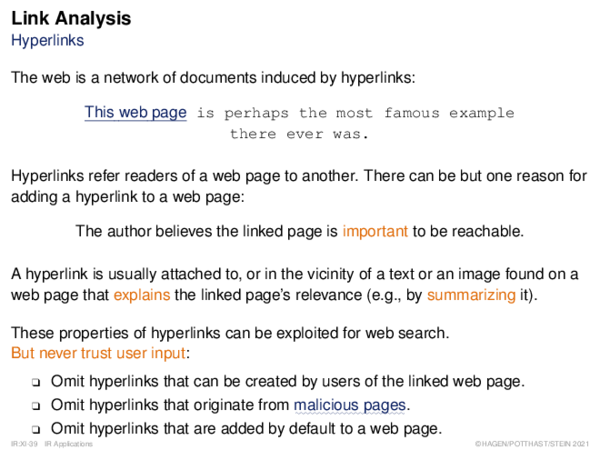 Link Analysis Hyperlinks