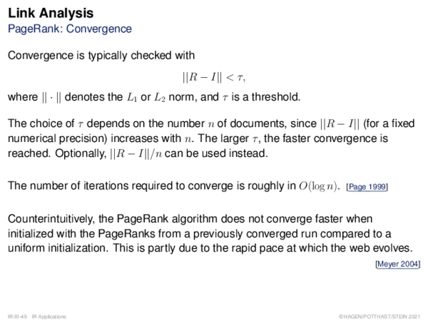 Link Analysis PageRank: Convergence