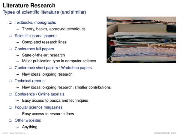 Literature Research Types of scientific literature (and similar)