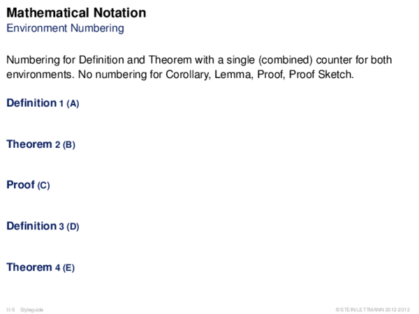 Mathematical Notation Environment Numbering