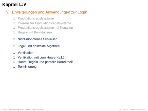 Kapitel L:V V. Erweiterungen und Anwendungen zur Logik