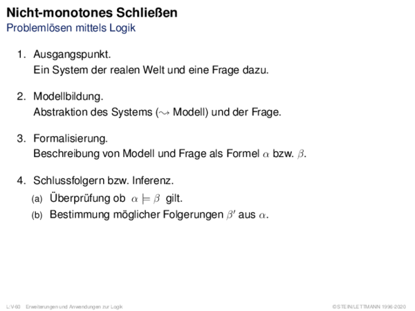 Nicht-monotones Schließen Problemlösen mittels Logik