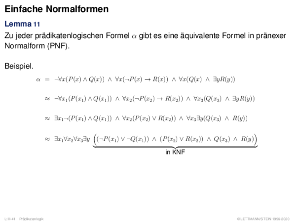 Einfache Normalformen Lemma 11
