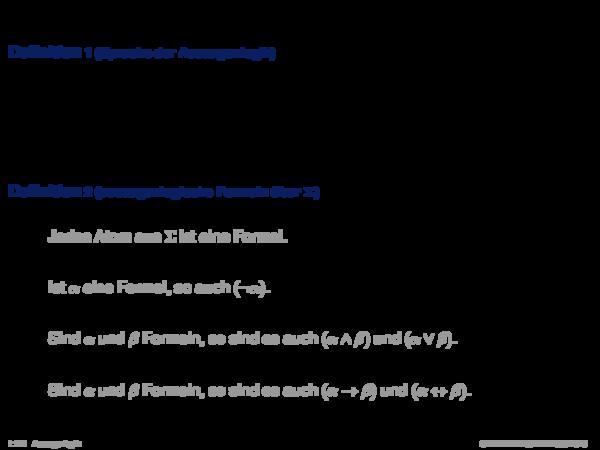 Syntax der Aussagenlogik Definition 1 (Sprache der Aussagenlogik)