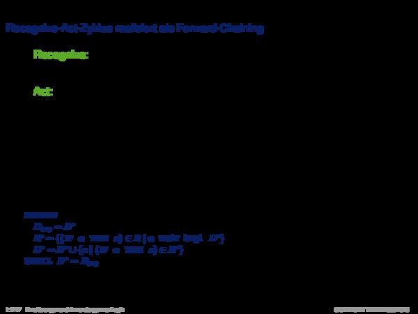 Inferenz für Produktionsregelsysteme Recognize-Act-Zyklus realisiert als Forward-Chaining