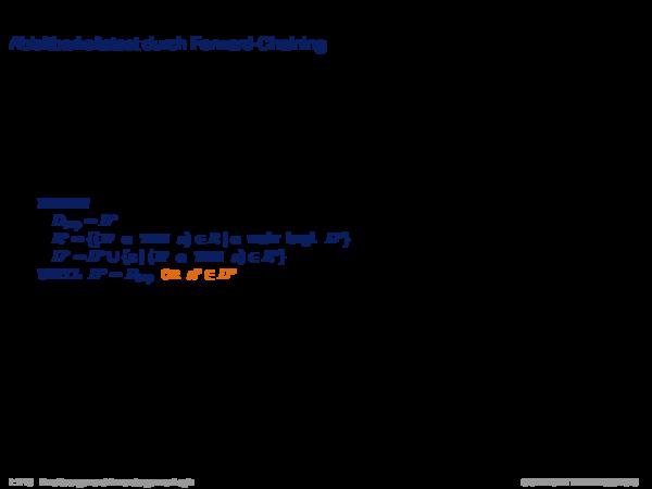 Inferenz für Produktionsregelsysteme Ableitbarkeitstest durch Forward-Chaining