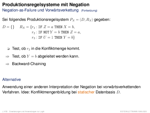 Produktionsregelsysteme mit Negation Negation-as-Failure und Vorwärtsverkettung