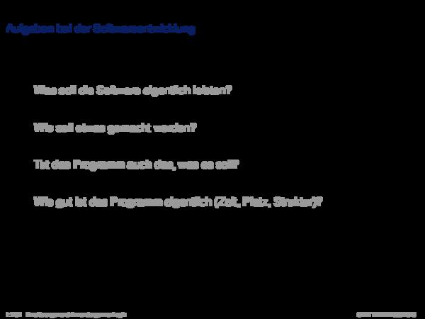 Verifikation Aufgaben bei der Softwareentwicklung