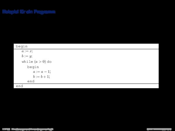 Verifikation Beispiel für ein Programm