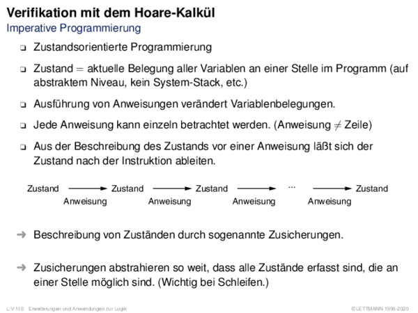 Verifikation mit dem Hoare-Kalkül Imperative Programmierung
