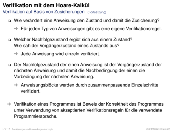 Verifikation mit dem Hoare-Kalkül Verifikation auf Basis von Zusicherungen