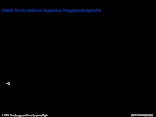 Verifikation mit dem Hoare-Kalkül Kalkül für die einfache imperative Programmiersprache