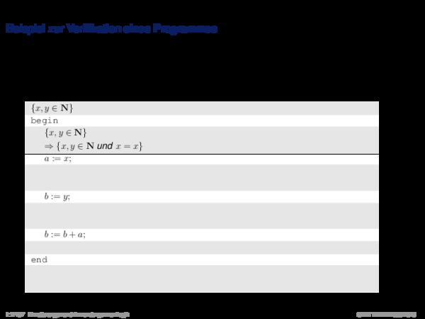 Hoare-Regeln und partielle Korrektheit Beispiel zur Verifikation eines Programmes