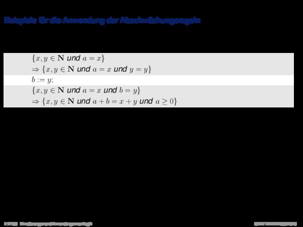 Hoare-Regeln und partielle Korrektheit Beispiele für die Anwendung der Abschwächungsregeln