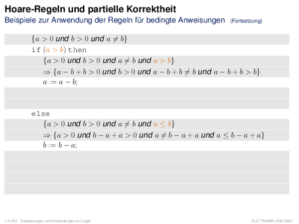 Hoare-Regeln und partielle Korrektheit Beispiele zur Anwendung der Regeln für bedingte Anweisungen