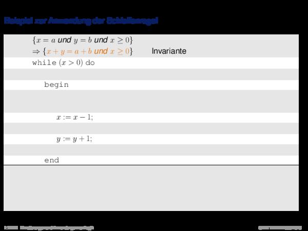 Hoare-Regeln und partielle Korrektheit Beispiel zur Anwendung der Schleifenregel