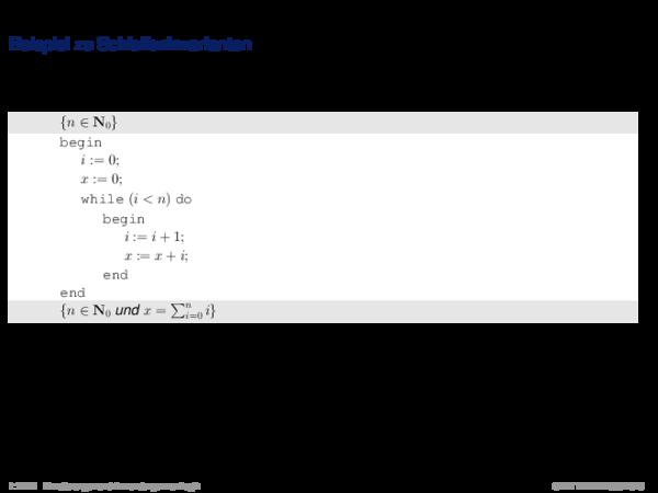 Hoare-Regeln und partielle Korrektheit Beispiel zu Schleifeninvarianten