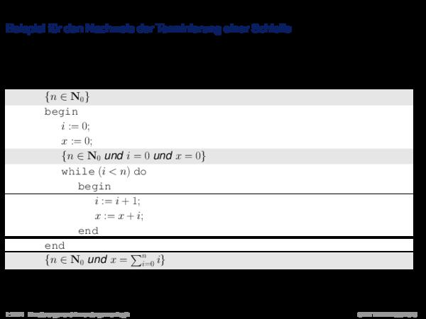 Terminierung Beispiel für den Nachweis der Terminierung einer Schleife