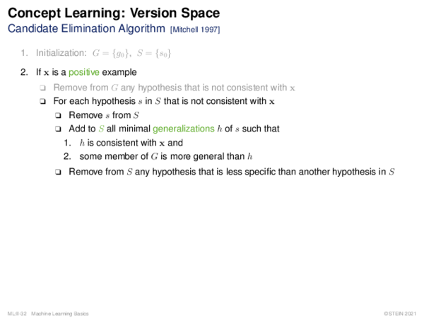 Concept Learning: Search in Version Space Candidate Elimination Algorithm (pseudo code)