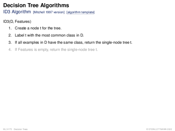 Decision Tree Algorithms ID3 Algorithm