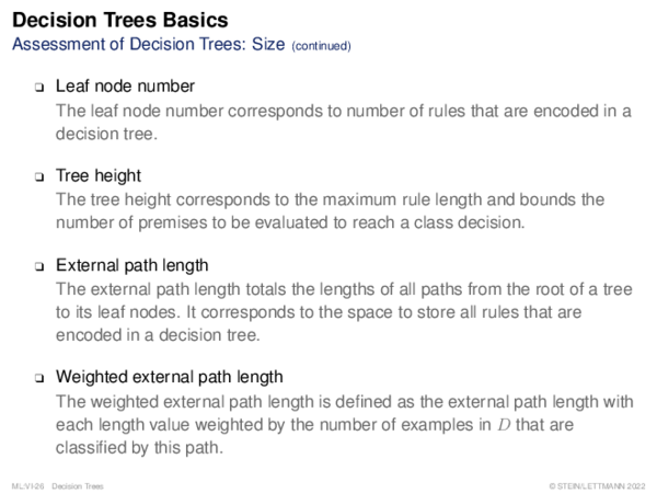Decision Trees Basics Performance of Decision Trees: Classification Error