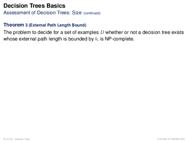 Decision Trees Basics Performance of Decision Trees: Misclassification Costs