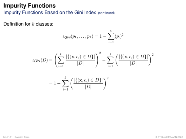 Impurity Functions Impurity Functions Based on the Gini Index