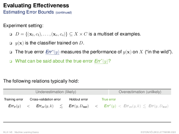 Evaluating Effectiveness (1) k-Fold Cross-Validation