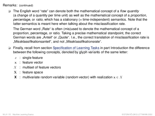 Evaluating Effectiveness (1) Misclassification Rate: Probabilistic Foundation