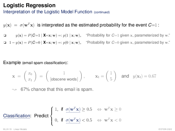 Logistic Regression Interpretation of the Logistic Model Function