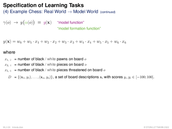 Specification of Learning Problems Example Chess: From the Real World γ to a Model World y