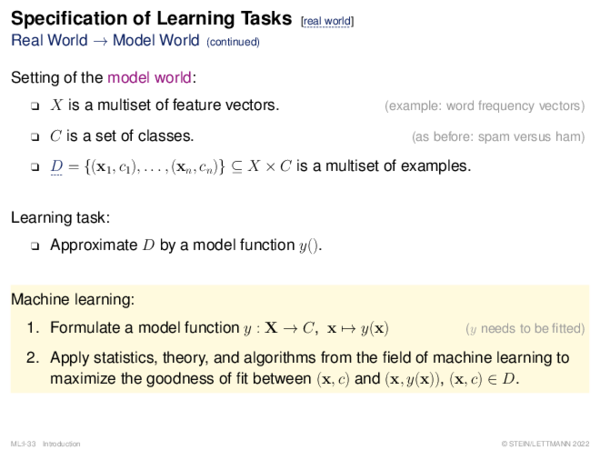 Specification of Learning Problems How to Build a Classifier y