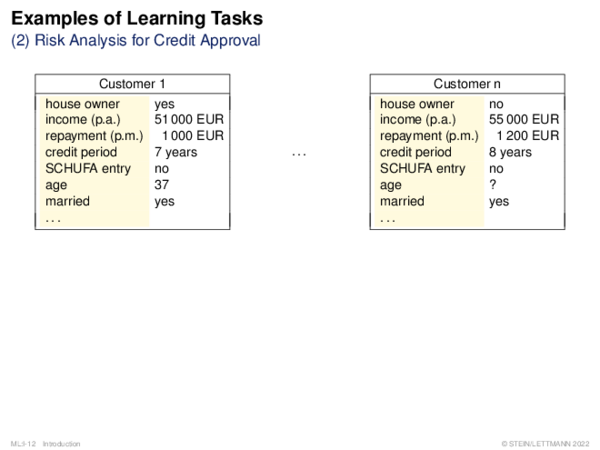 Examples of Learning Tasks Risk Analysis for Credit Approval