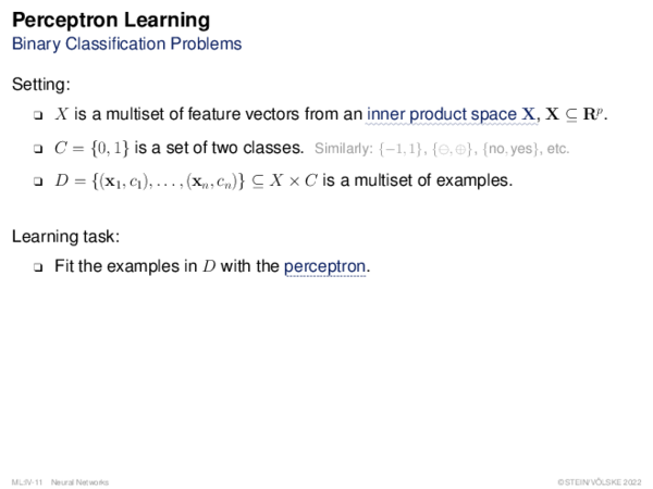 Perceptron Learning Computation in the Perceptron