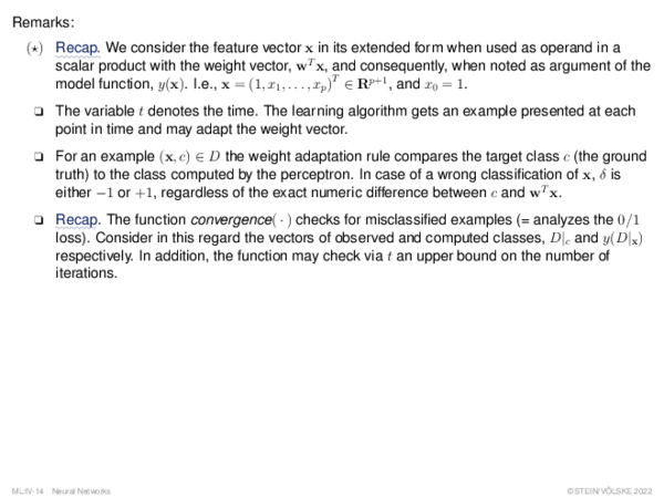 Perceptron Learning Weight Adaptation