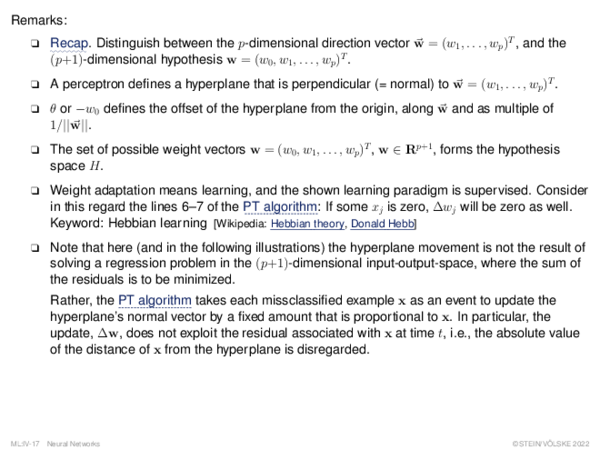 Perceptron Learning Weight Adaptation: Illustration in Input Space