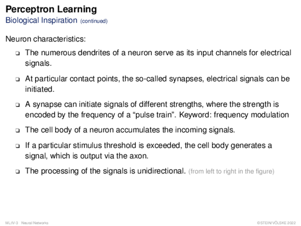 Perceptron Learning The Biological Model