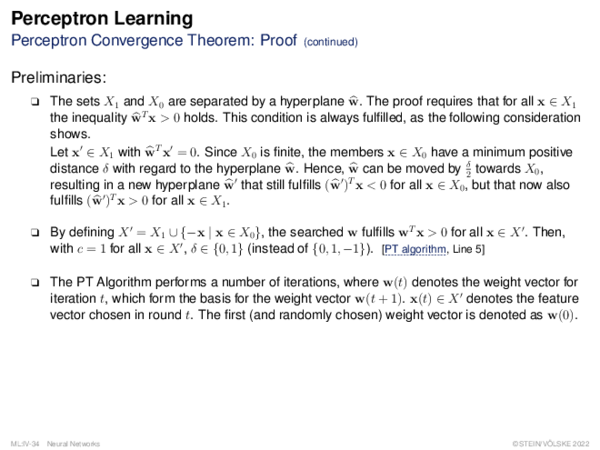 Perceptron Learning Perceptron Convergence Theorem: Proof