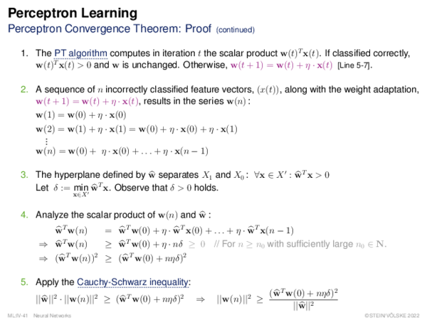 Perceptron Learning Perceptron Convergence Theorem: Proof