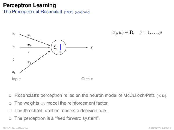 Perceptron Learning The Perceptron of Rosenblatt