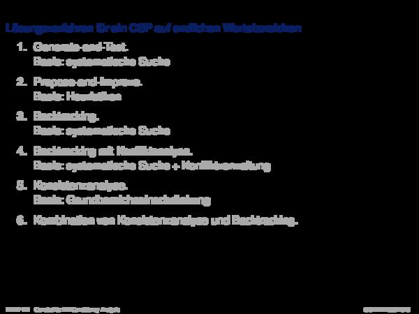 Weitere Analyseverfahren Lösungsverfahren für ein CSP auf endlichen Wertebereichen